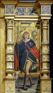 San Rocco particolare del polittico di Defendente Ferrari a Sant'Antonio di Ranverso COVID 19